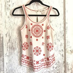 Lucky Brand Embroidered Tank Top Cream Size: XS